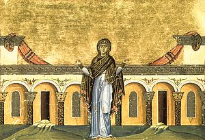 Miniature of St Syncletica from the Melologion of Basil II
